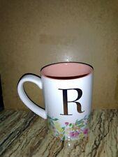 New listing Letter R Monogram Mug Flower Mug With Gold Tone