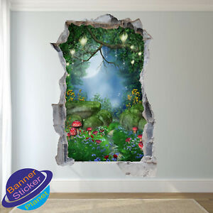 ENCHANTED FOREST FAIRY TAIL KIDS ROOM NURSERY POSTER WALL STICKER ART MURAL XK0