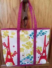 Lancome Magenta Paris Eiffel Tower Canvas Shopper Tote Bag