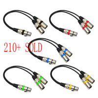 3Pin XLR Female Jack to Dual 2 Male Plug Y Splitter 30cm Adapter Cable Wire 30cm