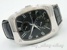KENNETH COLE KC1246 Multifunction Black Dial Black Leather Band Men's Watch
