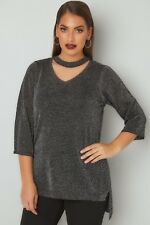 Tunika Gr.54/56 Choker schwarz Glitzer Shirt Tunikashirt festlich Damen Neu Glit