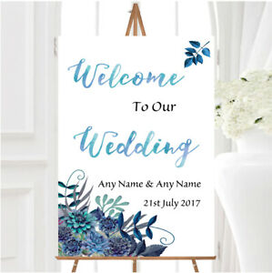 Aqua Green Blue Watercolour Florals Personalised Any Text Welcome Wedding Sign