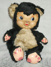 """Vintage Rubber Face Plush Seated Teddy Bear with Wings, 1950s-60, 7 1/2"""""""