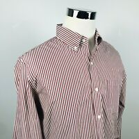 J Crew Mens Large Slim Fit 2 Ply Cotton Shirt Red White Striped Button Down