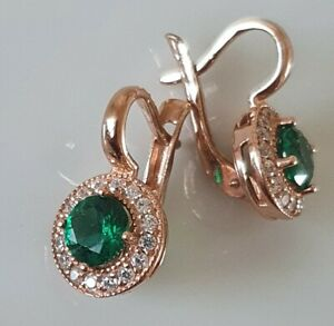 Russian Rose Gold plated emerald EARRINGS  CREATED  HALLMARKED 925 MALINKA