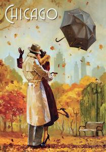 Retro Vintage Travel Poster * CHICAGO * LARGE A3 Size CANVAS ART PRINT