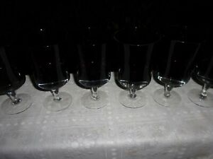 Mid Century Modern Six Blown Amethyst and Clear Glass Goblets