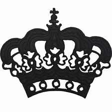 Black Crown Badge Iron Sew on T Shirt Hat Fancy Dress Costume Embroidered Patch