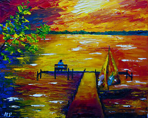 "Sunset at Clear Lake Natasha Petrosova Original Painting Impressionism 11""x14"""
