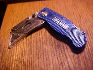 KOBALT blue SINGLE BLADE  razer BLADE POCKET KNIFE lockblade
