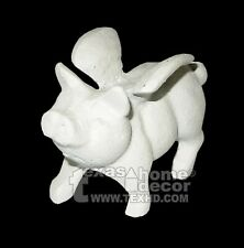 White Cast Iron Flying Pig Figurine Statue Wings Paper Weight Garden Home Decor