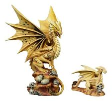 Anne Stokes Desert Sand Skull Baby Wyrmling And Mother Dragon Fantasy Statue Set