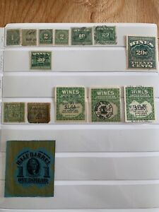 1 $1 1898 Beer stamp Scott # REA62 & 13 wine stamps IRS Tax Revenue see photo