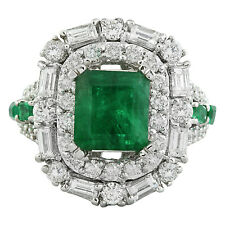 5.80 Carat Natural Emerald and Diamond 18K White Gold Engagement Ring