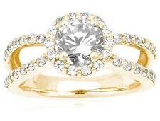 2 ct total, 1.36 ct Round Diamond Halo Wedding 14k Yellow Gold Ring GIA H VS2