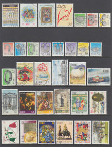 Ireland Sc 727/1005 used. 1988-96 issues, 33 better singles, sound, F-VF group.