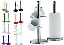 Stainless Steel 6 Cup Mug Tree Stand Rack & Kitchen Towel Paper Roll Pole Holder