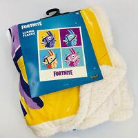 """Fortnite Loot Llama Sherpa Fleece Blanket Throw Afghan Super Soft Cozy 50"""" x 60"""""""
