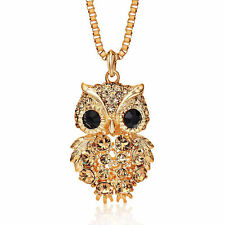 18K GOLD GP Gold Square Chain Owl NECKLACE Yellow