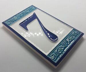 11cm x 7cm Ceramic Handmade Greek Style Numbers, Letters & Hardwood Frames