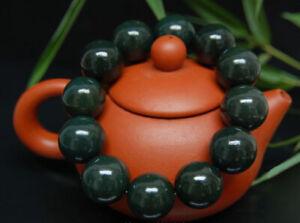 Chinese Hand Carved jade Bead Natural  Hetian jade  Bracelet