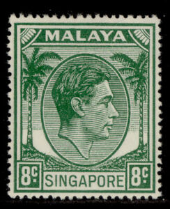 SINGAPORE GVI SG21a, 8c green, VLH MINT. Cat £12.