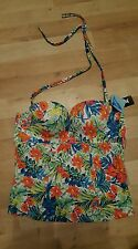 BNWT Gossard Egoboost Tropical, Push Up Strapless/ Halterneck Tankini Top