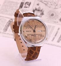 Raketa calendar 2628.H rare USSR Soviet men's wristwatch, brown dial