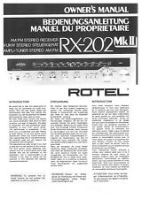 Rotel RX-202MK2 Receiver Owners Instruction Manual