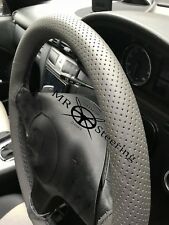 FOR LEXUS RX 98+ GREY PERFORATED LEATHER STEERING WHEEL COVER BLACK DOUBLE STCH