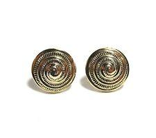 Beautiful Yellow Gold Plated Swirl Shell Form Pierced Earrings & Butterfly Backs