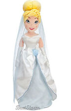 "21"" PRINCESS CINDERELLA PLUSH WEDDING Toy Doll BLUE GOWN & VEIL Disney Store NEW"