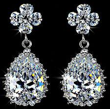 2 Ct Diamond Bullet Clasp Water Drop 925 Sterling Silver Earring