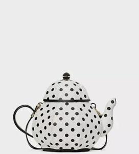 NWT kate spade Alice in Wonderland Tea Pot Party Teapot Polka Dot Crossbody Bag