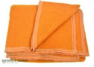 Original French Army Wool Blanket Orange Military Bedding Large Woolen Whiskey