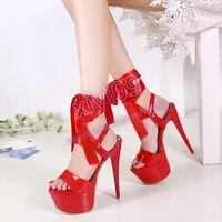 Womens High Heel Open toe Lace up Platform Stiletto Summer Sandals Shoes AU SH