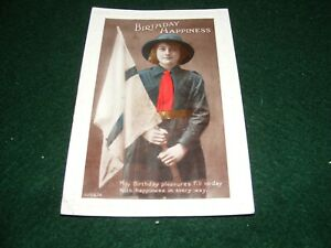 VINTAGE POSTCARD PRETTY YOUNG LADY GIRL GUIDE UNIFORM HAT FLAG GREETING RP