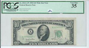 $10 1950 RARE Wide A Star * Block Federal Reserve Note FRN Boston PCGS 35 CH VF