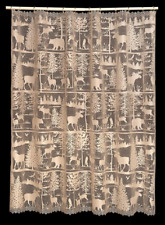 Heritage Lace Tan LODGE HOLLOW Shower Curtain - Rustic Pine, Moose, Bears