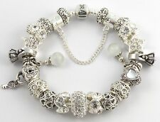 Authentic PANDORA Bracelet with WEDDING ENGAGEMENT RING European Charms & Beads