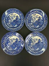 "Set of 4 Burleigh Ware Willow 8 1/4"" Salad Plates Blue With Gilded Edging Lot#1"