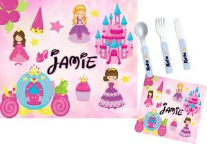 Personalised Kids Princess's - Placemat, Coaster & Cutlery Set - Girls Gift
