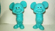 """New listing 1960's Walt Disney Production Blue Rubber Mickey Mouse Figures 2 1/2"""" Made Hong"""