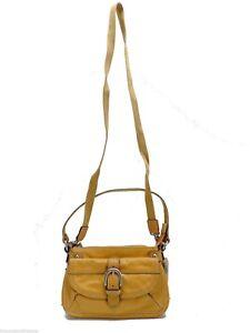 Fossil Lizette Leather Crossbody Handbag + Strap Yellow New! NWT