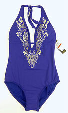 Laundry by Shelli Segal Embroidered One Piece Purple Swimsuit Halter Size XS 2