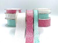 Crystal Glitter Ribbon - White - Pink - Aqua - Wedding - Mermaid - Unicorn