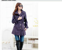 Womens Fashion Long Coat Slim Trench Purple Jacket Belt Outwear New Hot Size S M