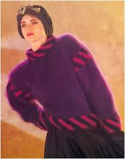 Ladies' Mohair Sweater with Diagonal Stripes Vintage Knitting Pattern