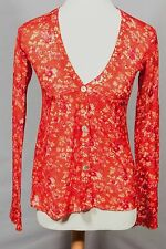 New Free People Red Floral Cardigan Pullover Tunic Sweater Top Sz S 4-6